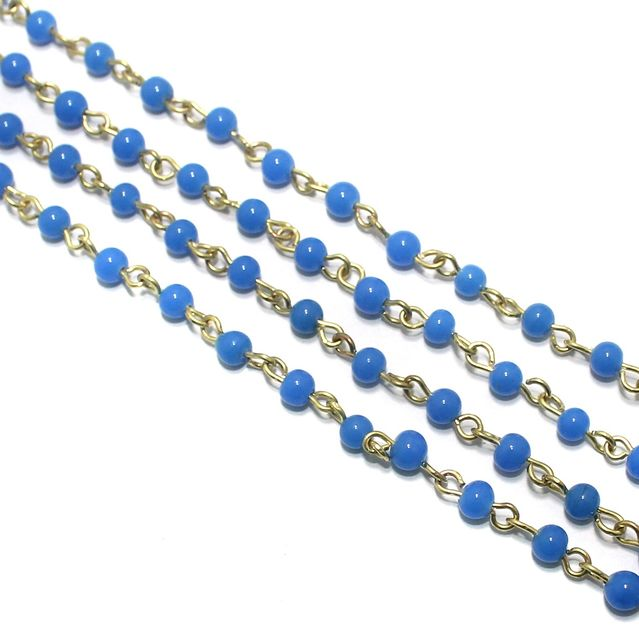 1 Mtr Designer Beaded Chain Sky Blue 4mm