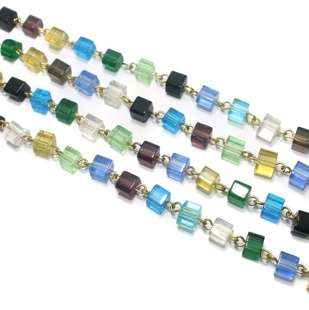 1 Mtr Designer Beaded Chain Multi 6mm