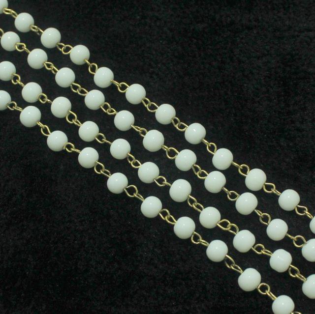 1 Mtr Designer Beaded Chain White 6mm
