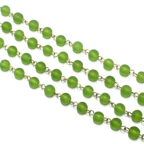 1 Mtr Designer Beaded Chain Parrot Green 8mm