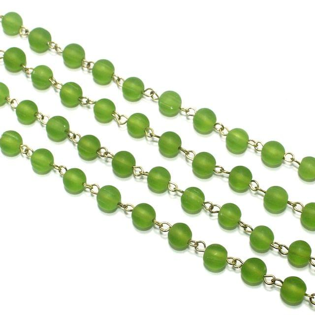 1 Mtr Designer Beaded Chain Parrot Green 8mm