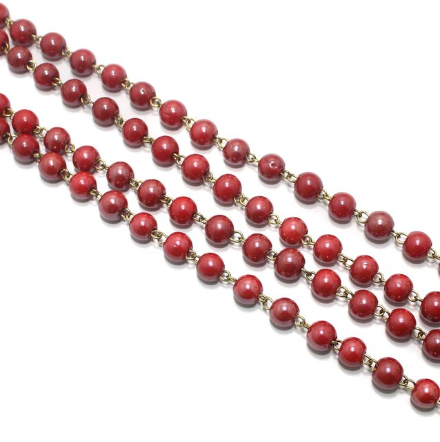 1 Mtr Designer Beaded Chain Red 8mm