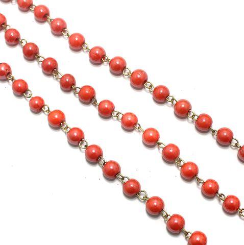 1 Mtr Designer Beaded Chain Orange 8mm