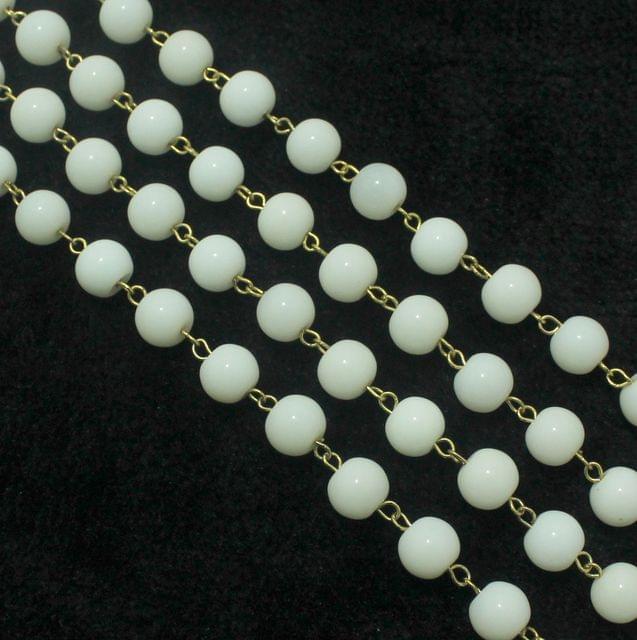 1 Mtr Designer Beaded Chain White 10mm