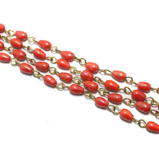 1 Mtr Designer Beaded Chain Orange 6x4mm