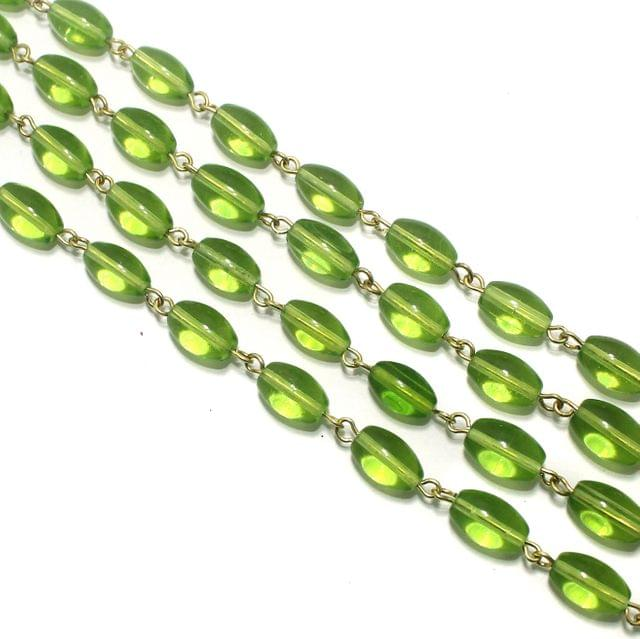 1 Mtr Designer Beaded Chain Parrot Green 12x8mm