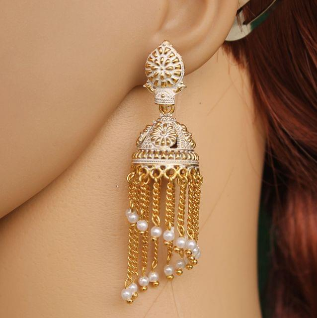 Meenakari Dangler Jhumka Earrings White