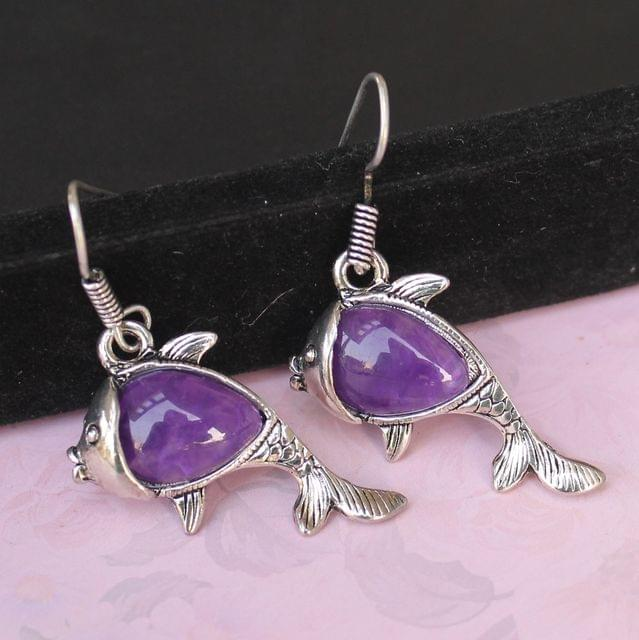 German Silver Stone Earrings Purple