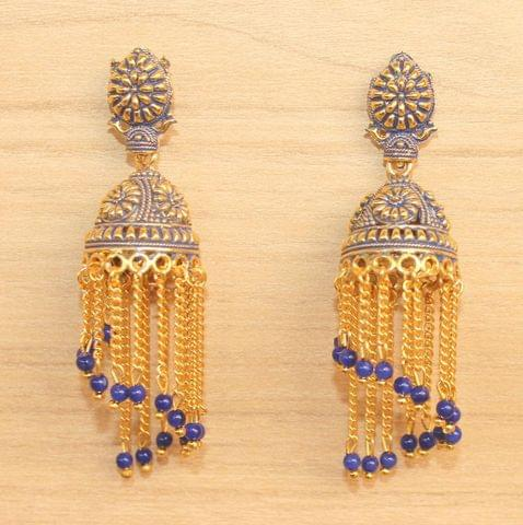 Meenakari Dangler Jhumka Earrings Blue