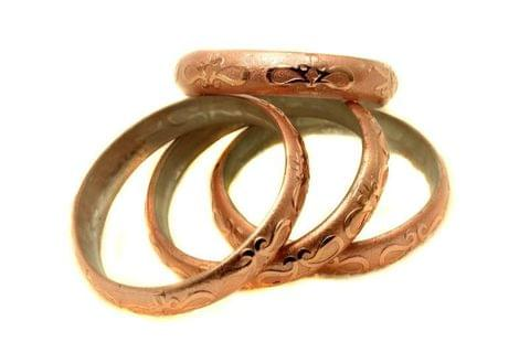 Copper Glass Non Plated Bangles Kada For Women, Size 2.4