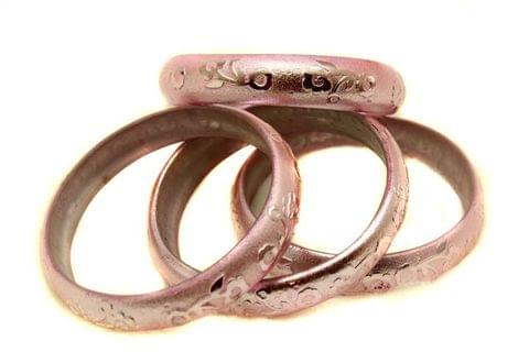 Pink Glass Non Plated Bangles Kada For Women, Size 2.4