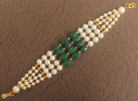 Glass Beaded Designer 4 Layer Bracelets Green