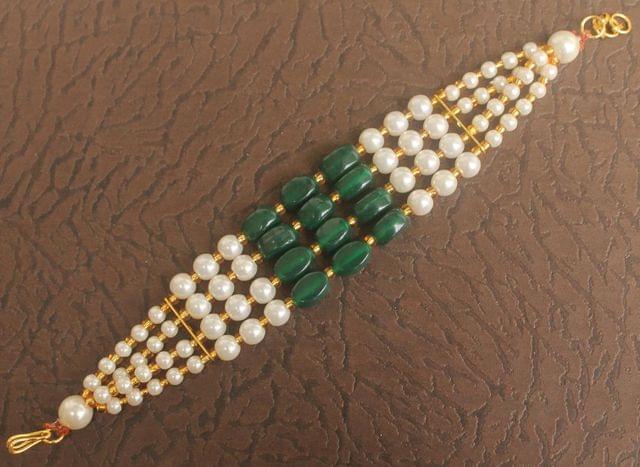 Glass Beaded Designer 4 Layer Bracelets Green