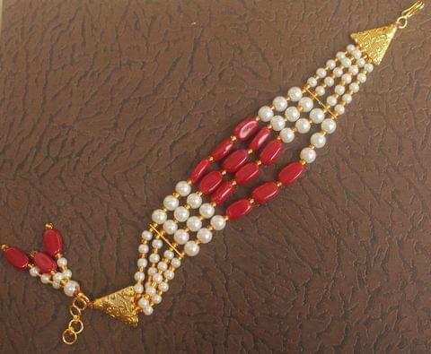 Glass Beaded Designer 4 Layer Bracelet Red