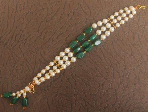 Glass Beaded Designer 3 Layer Bracelet Green