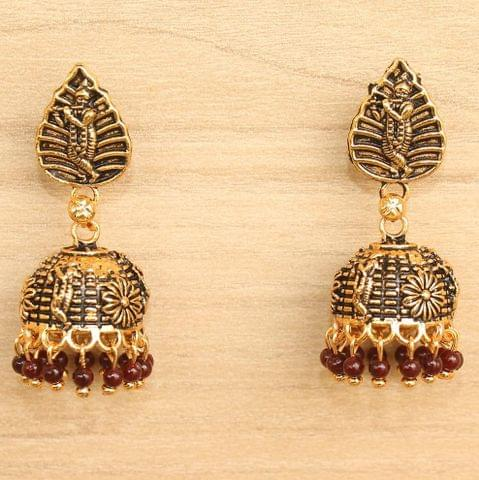Meenakari Jhumka Earrings Maroon