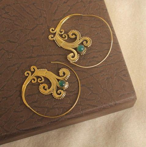 Brass Tribal Hoop Stone Earring Golden For Girls
