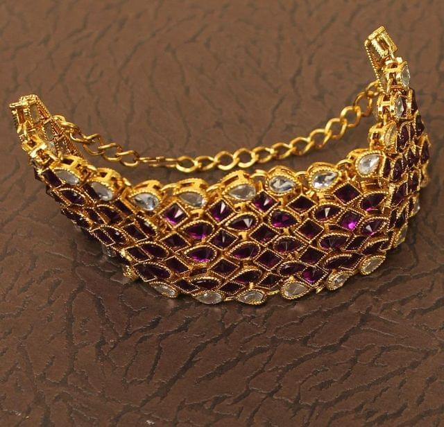 Trendy Double Side Kundan Bracelet Purple