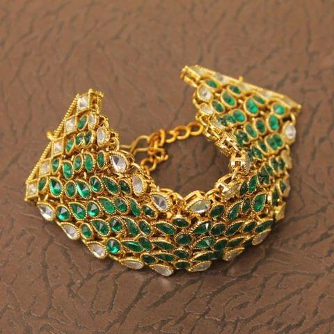 Trendy Double Side Kundan Bracelet Green