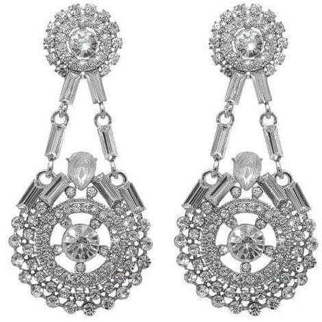 Crystal Stone Silver Plated Dangler Earring