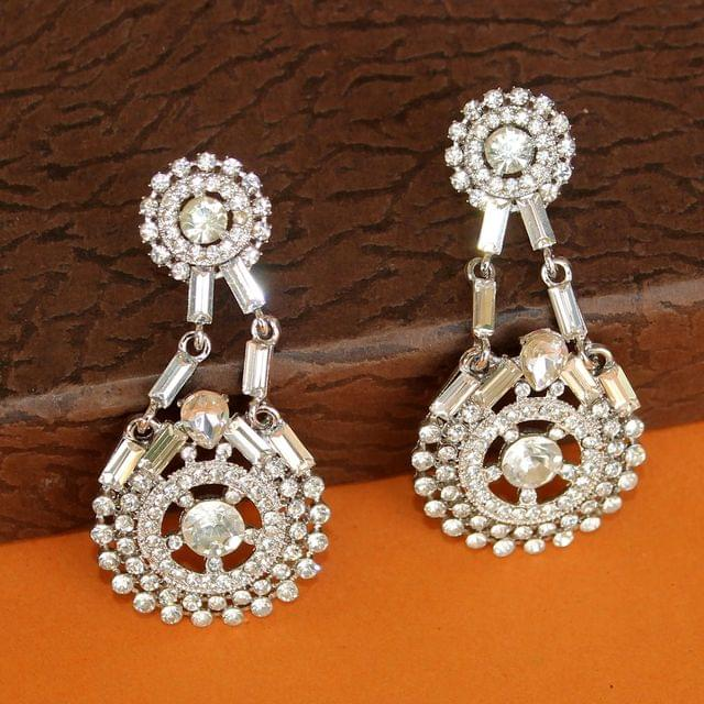 Crystal Stone Silver Plated Dangler Earring