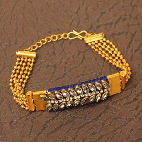 Kundan Silk thread Adjustable Bracelet Blue