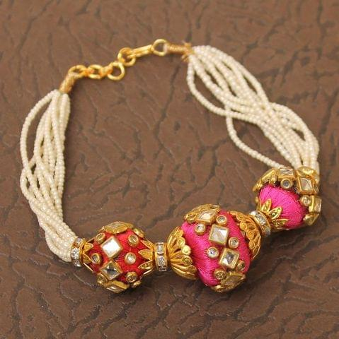 Designer Kundan Silk thread Adjustable Moti Bracelet
