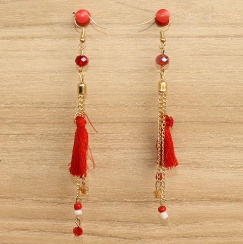 Tassel and Beaded Earrings Red