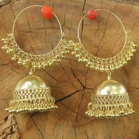 Trendy Gold Plated Jhumka Hoop Earring For Girls And Women
