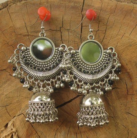 Mirror Jhumka Earring Silver