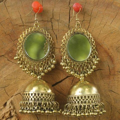 Metal Mirror Jhumka Earring Golden