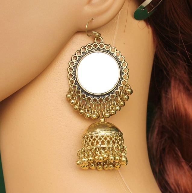 Metal Mirror Jhumka Earring Golden