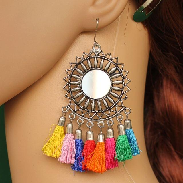 German Silver Tassel Mirror Earring Multicolor