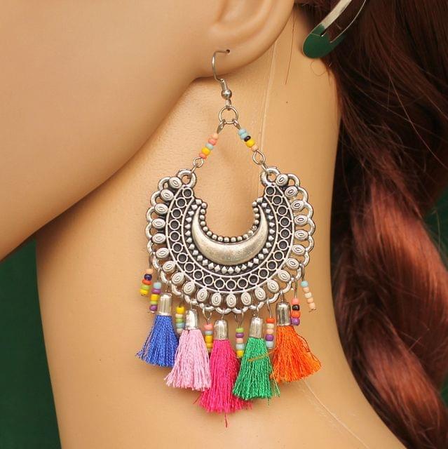Trendy Tassel Chandbali Earring Multicolor