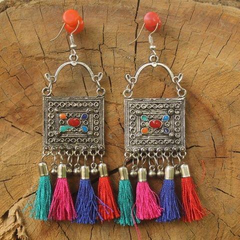 German Silver Tassel Dangler Earring Multicolor