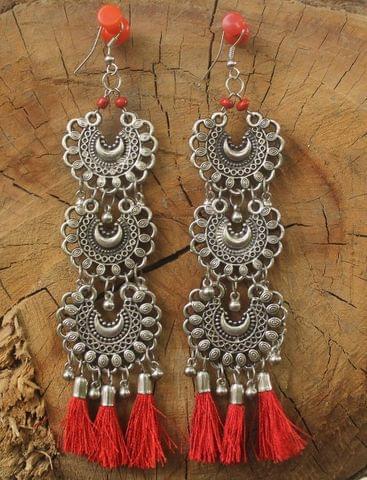 German Silver Tassel Earring Red