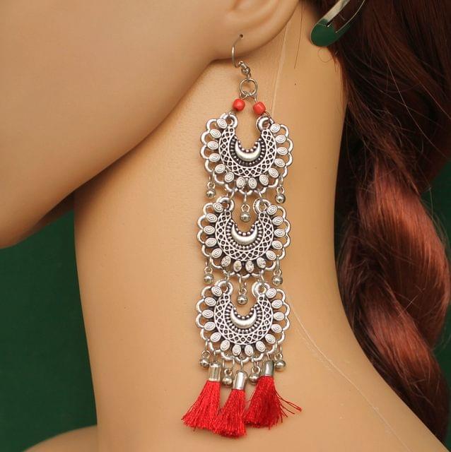 German Silver Tassel Earring Red