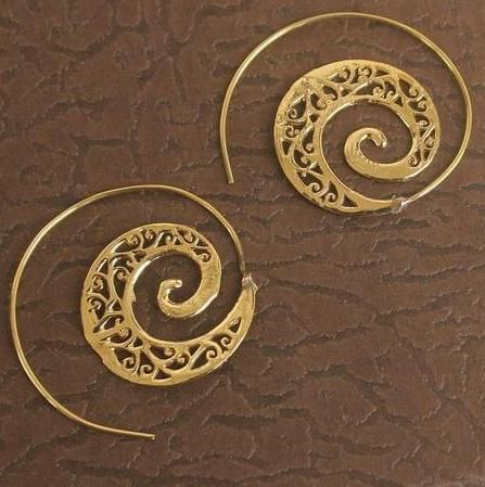 Brass Tribal Hoop Earring Golden For Girls