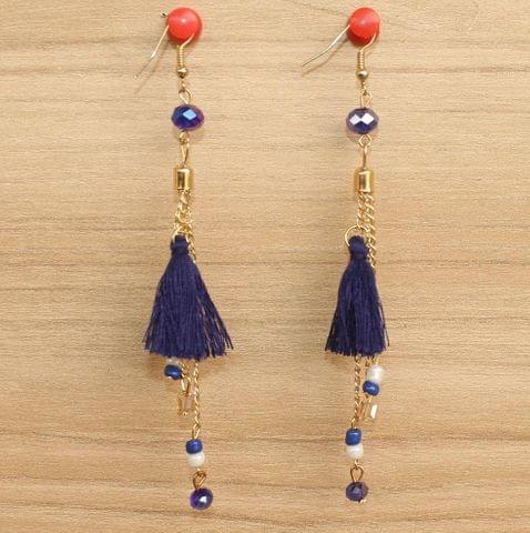 Tassel and Beaded Earrings Blue