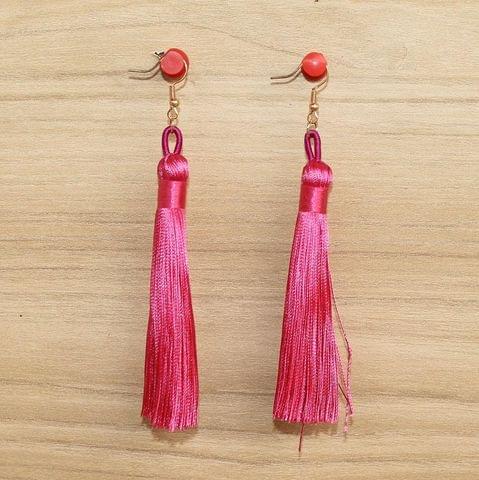 Long Tassel Earrings Hot Pink