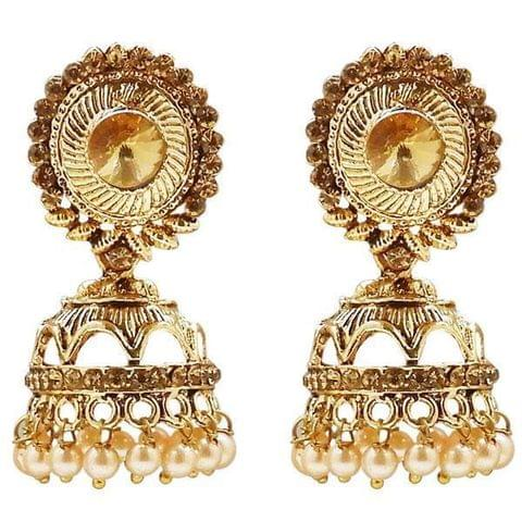 Gold Plated Stone And Pearl Jhumki Earring