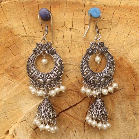 German Silver Chandibali Earring Jhumki White