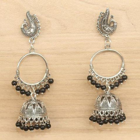 German Silver Beads Hanging Jhumki Black