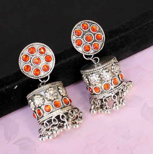 German Silver Round Shape Jhumki Orange