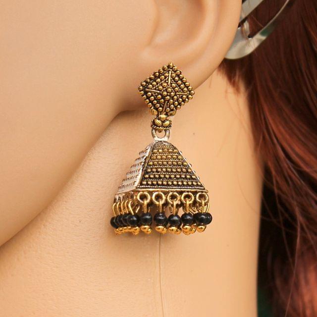 Meenakari Jhumka Earrings Black