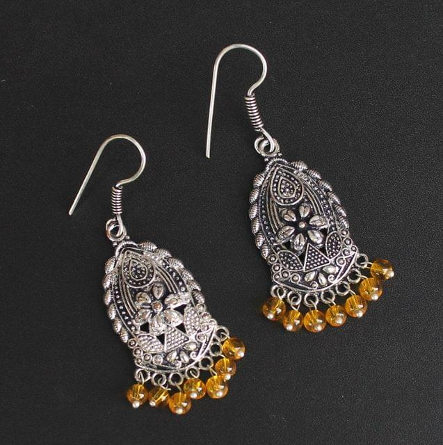 German Silver Beads Hanging Earring Trans Yellow