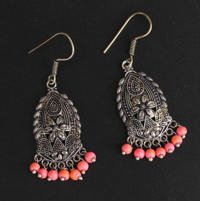 German Silver Beads Hanging Earring Orange