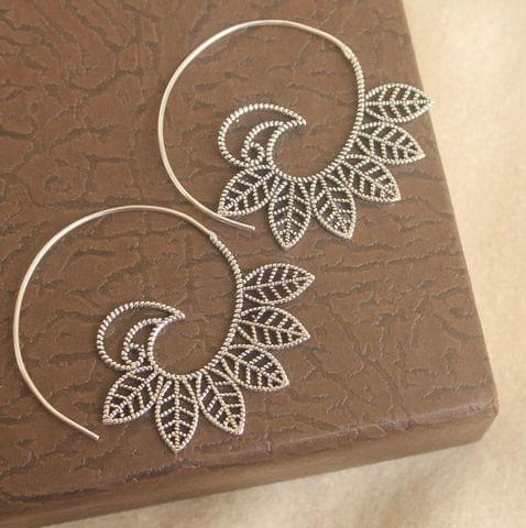 Brass Tribal Hoop Earring Silver For Girls