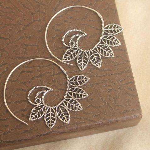 Brass Tribal Hoop Earring Silver For Girls