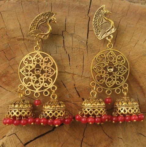 German Silver Beads Hanging Jhumka Earring Red